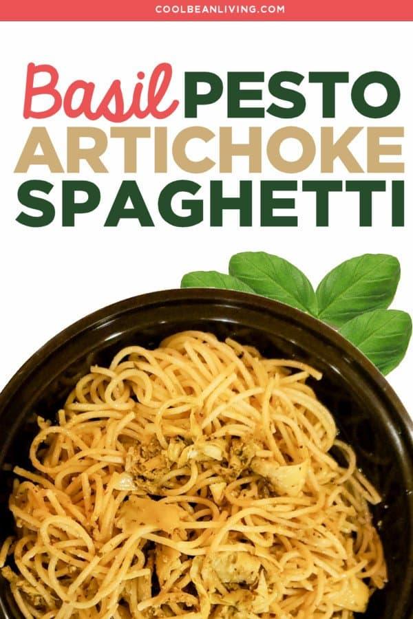 basil pesto spaghetti with artichokes