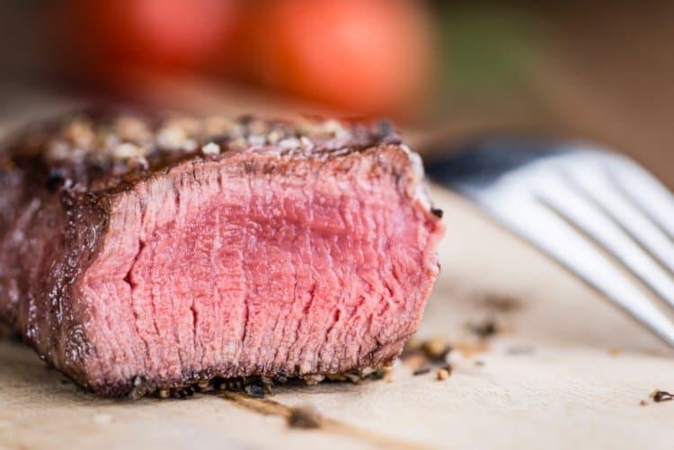 medium rare steak made in the air fryer