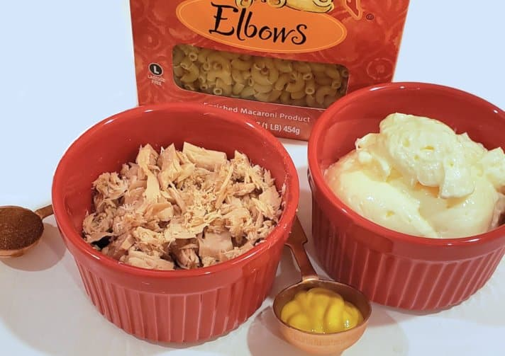 ingredients for making a tuna macaroni salad