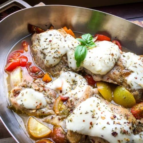 One Pan Chicken Thighs with Mozzarella and Tomatoes