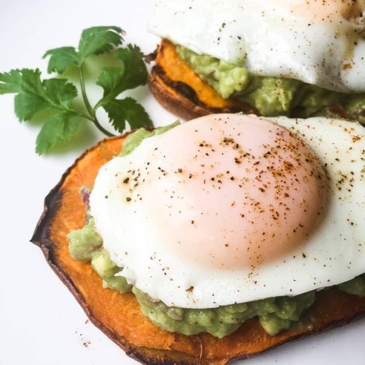 Avocado and Egg on Top of Sweet Potato Toast