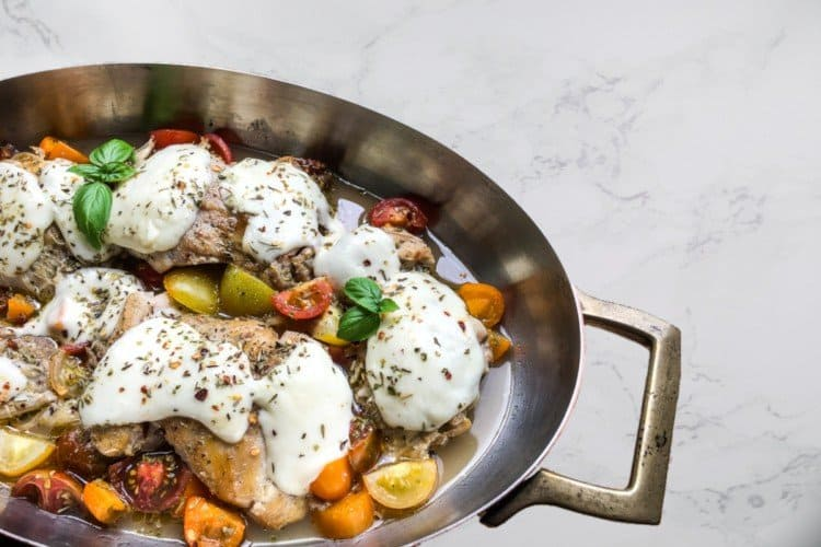 Chicken Thighs with Mozzarella and Tomatoes