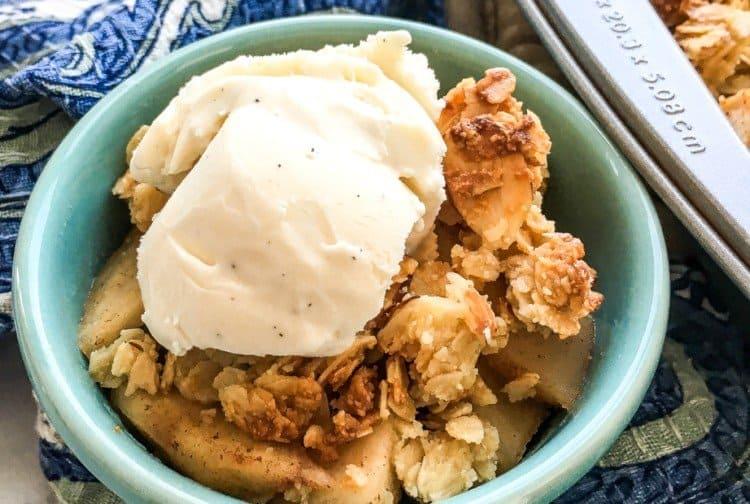 Serve the Cinnamon Apple Crisp with Ice Cream