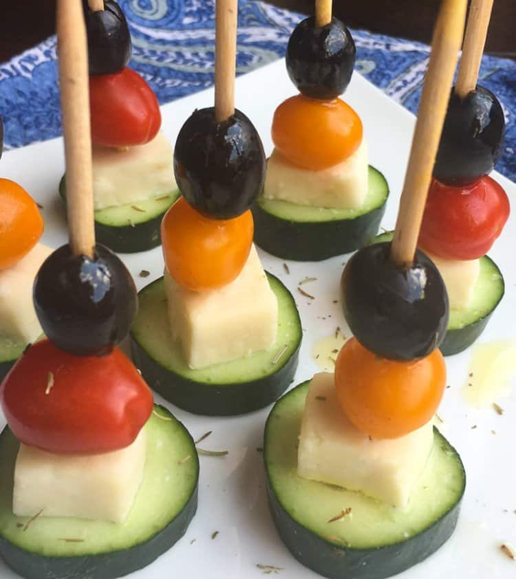 Salad Skewers with Cucumbers, Tomatoes and Feta