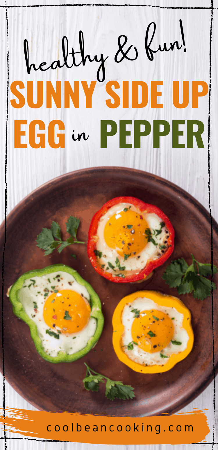 Healthy and Fun Breakfast of Sunny Side Up Eggs Inside a Bell Pepper Ring
