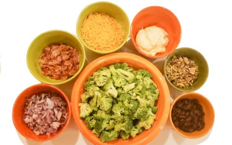 Ingredients for Broccoli Bacon Salad