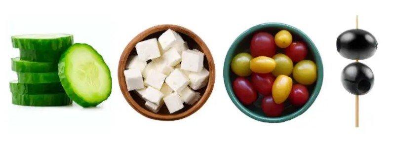 Ingredients for Greek Salad Skewers