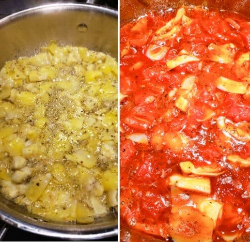 Saute artichoke hearts, olive oil and diced tomatoes