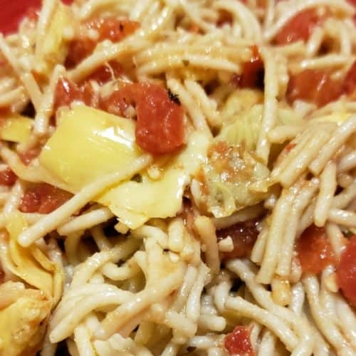 Gluten-free version of Artichoke Hearts and Diced Tomatoes Pasta