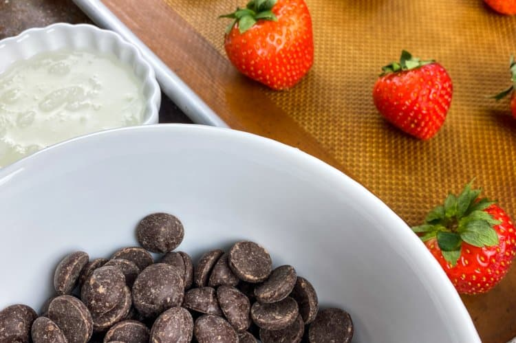 ingredients for dipping strawberries in chocolate