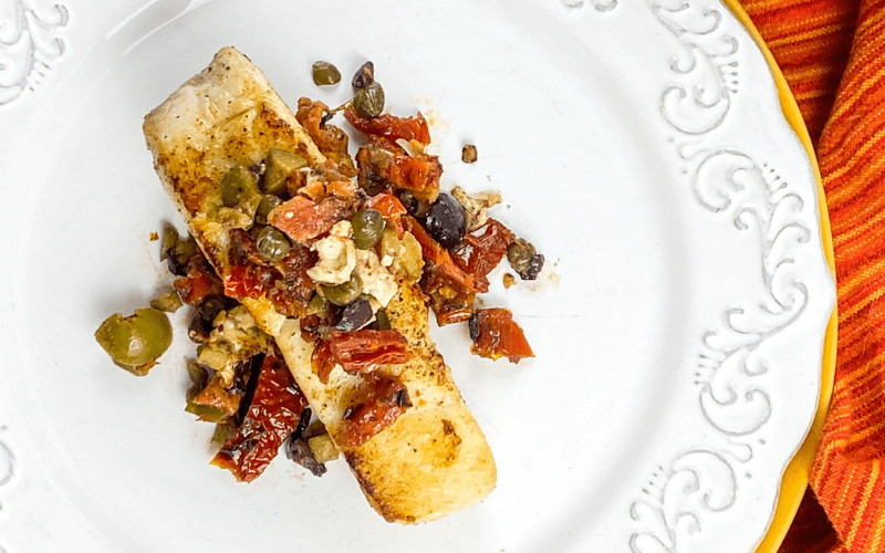 Mediterranean whitefish with olive tapenade
