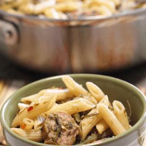 Italian sausage with rapini and pasta