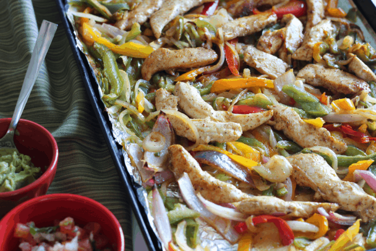 chicken fajitas baked in oven on sheet pan