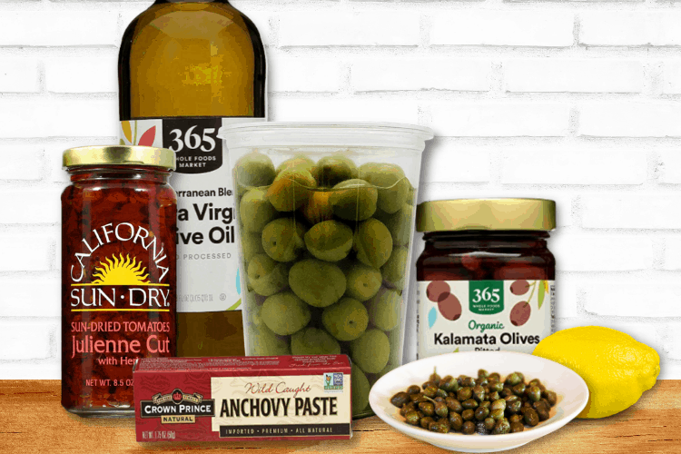 ingredients to make sun dried tomato and olive tapenade