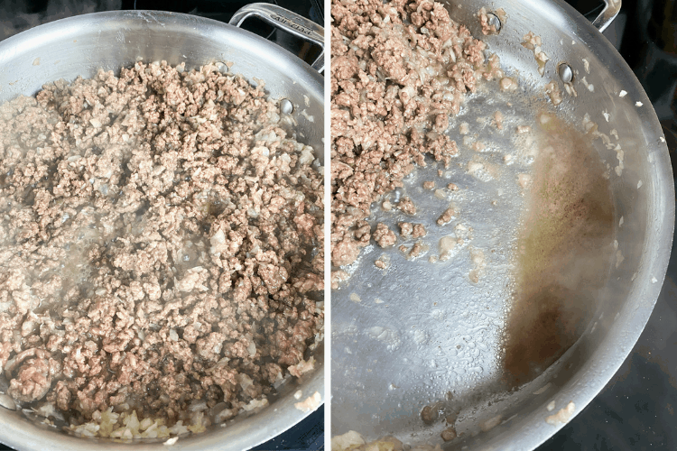 cooking and draining grease from ground beef