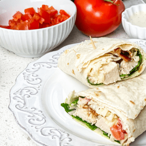 instant pot made chicken bacon sandwich wrap