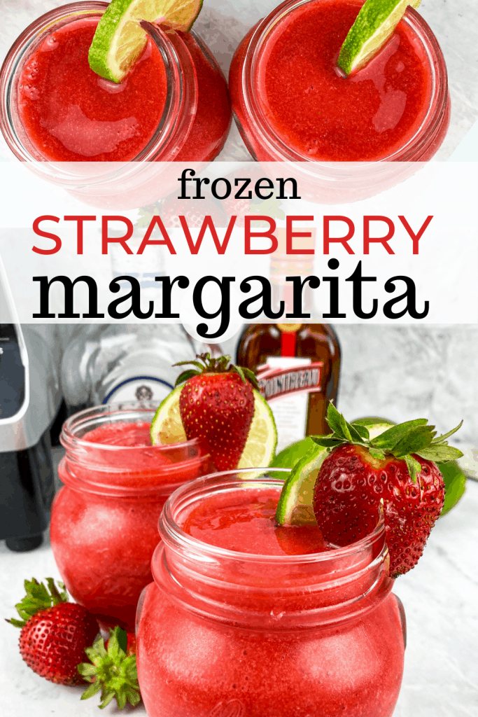 frozen strawberry margaritas in mason jars