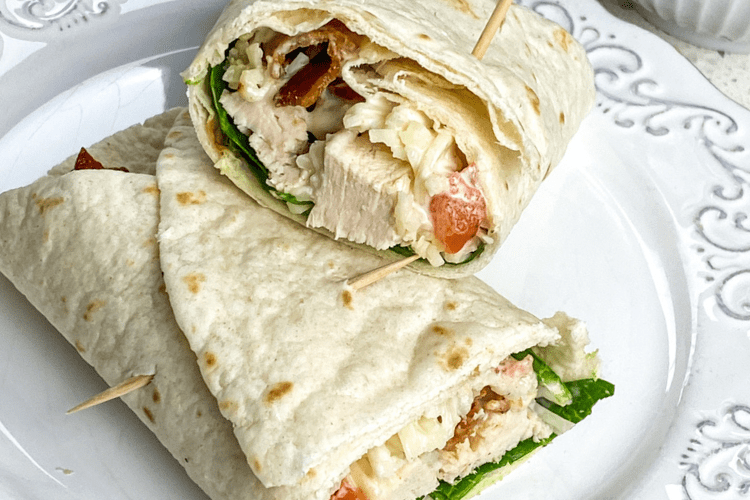 chicken sandwich wrap with bacon spinach and ranch dressing