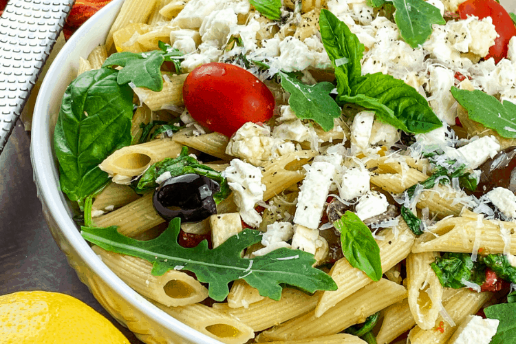 Cold Mediterranean style pasta salad