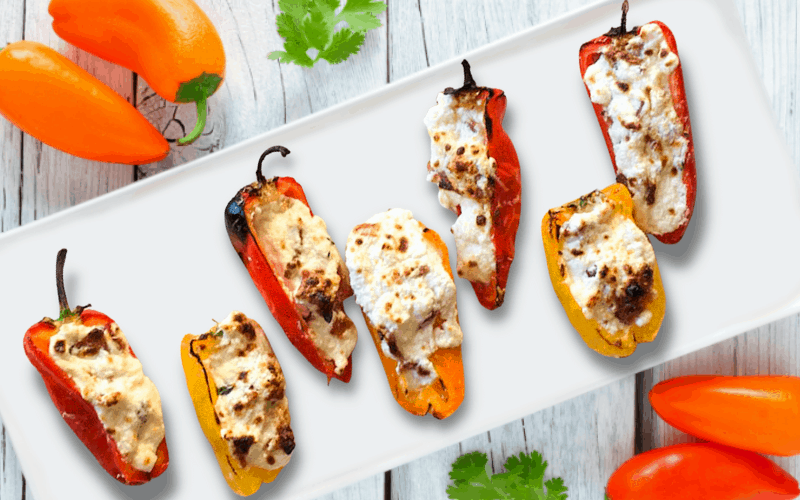 mini sweet peppers stuffed with cheese appetizers