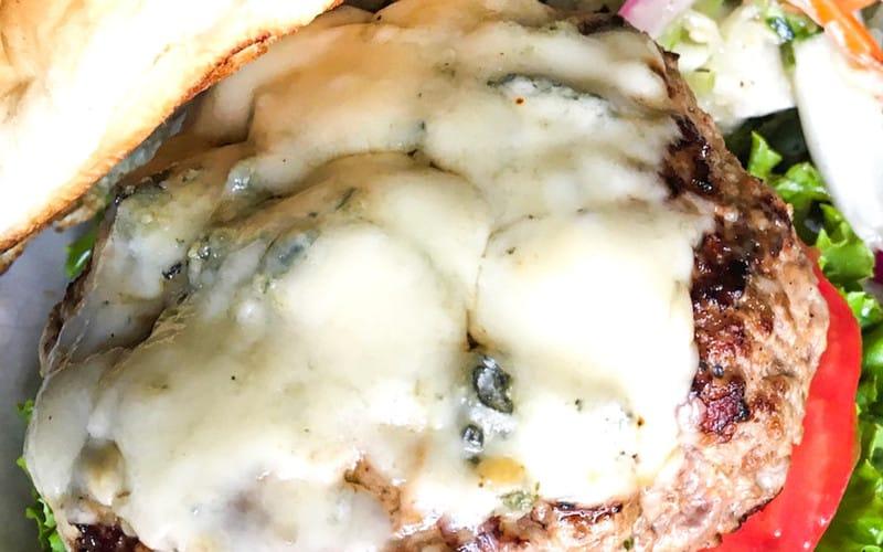 melted bleu cheese burgers