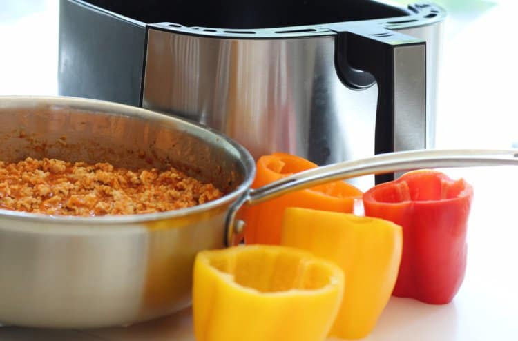 stuffing sweet peppers with turkey and rice