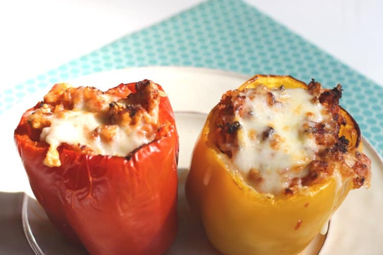 sweet peppers stuffed with turkey and rice