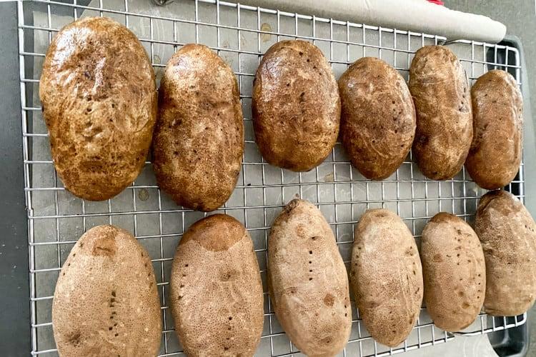potatoes on baking rack