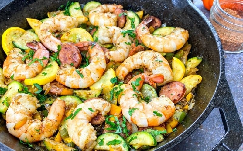 cajun style shrimp with andouille sausage and vegetables